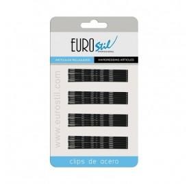 Eurostil Carton 24 Clips Ondulados Negro 70mm