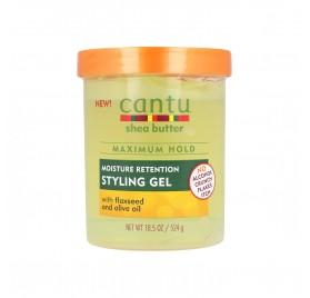 Cantu Shea Butter Styling Gel Con Semilla De Lino + Aceite De Oliva 18,5Oz/524G (Retención de humedad)