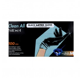 Sinelco Sibel Gloves Latex 100U Black Medium /M